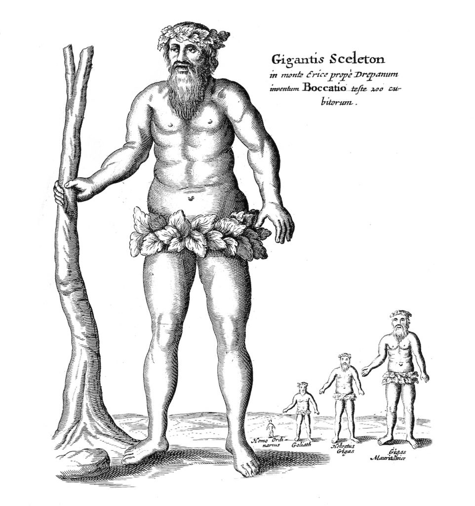 Illustrazione Mundus Subterraneus del gigante Erice messo a confronto con altri giganti
