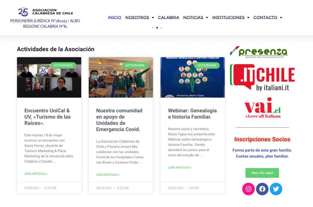 schermata Associazione Calabrese del Cile