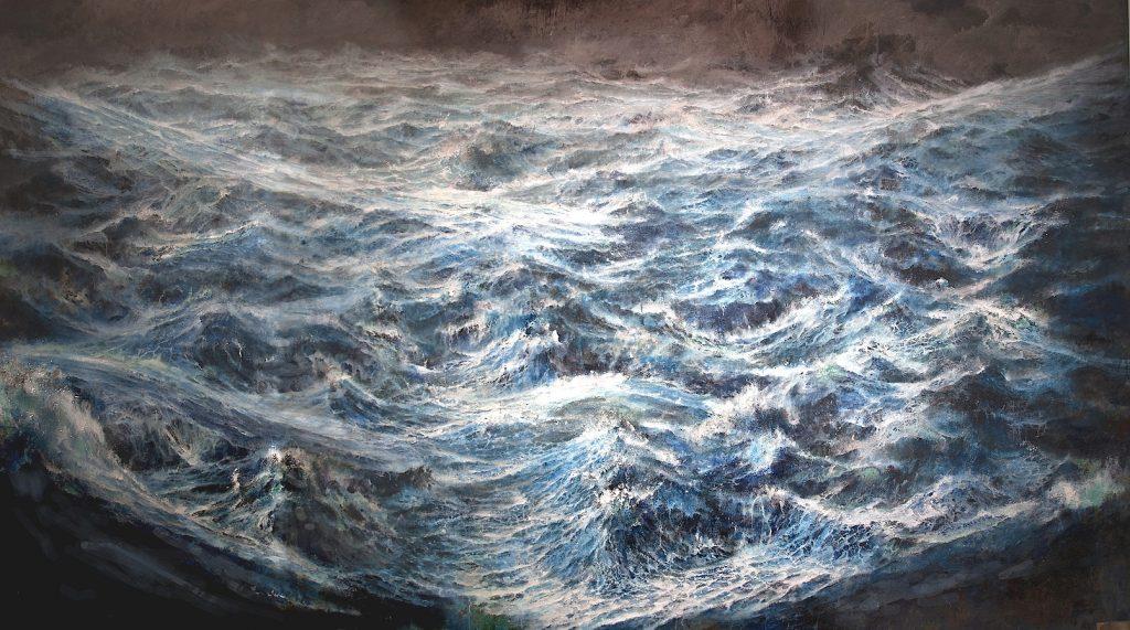 Dipinti sull'acqua  - FRANCESCO SANTOSUOSSO Tempesta sull'oceano primordiale olio e acrilico su tela cm224-x-370 santosuosso 2019