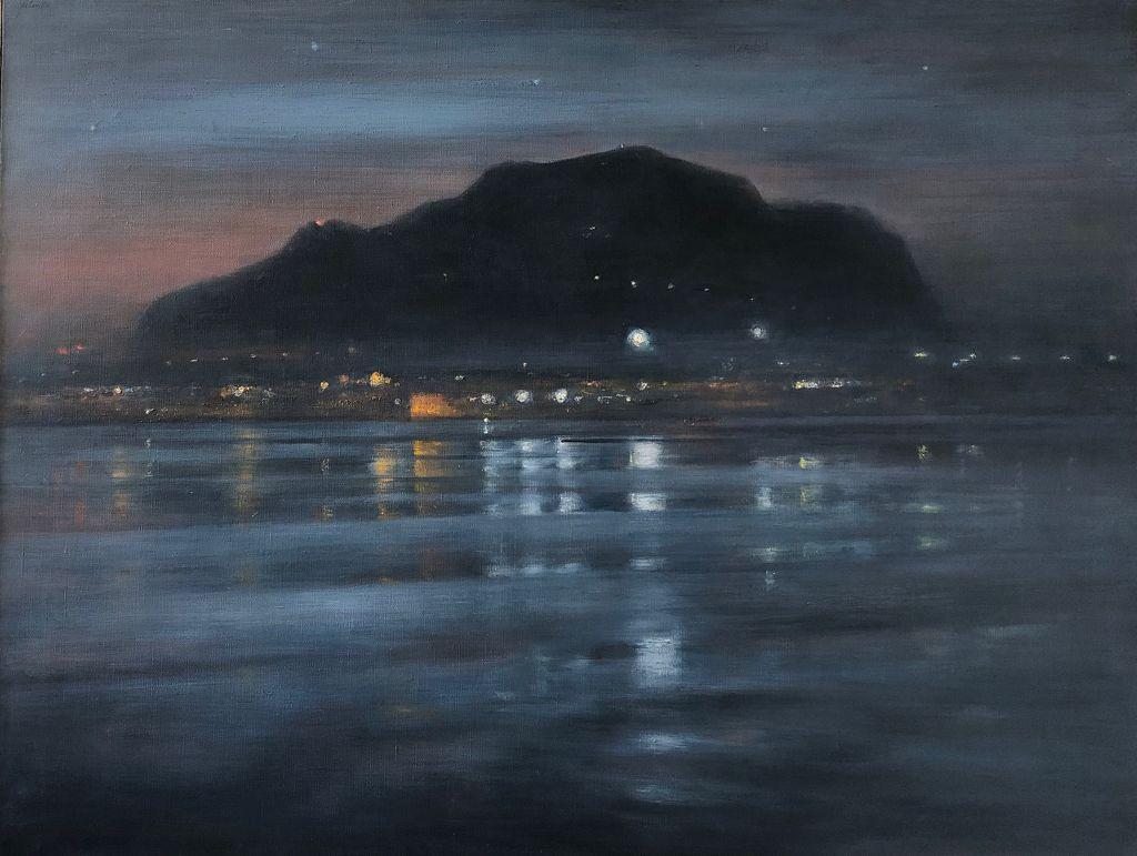 ETTORE DE CONCILIIS Il porto di Palermo la sera 2010 olio su tela lgt