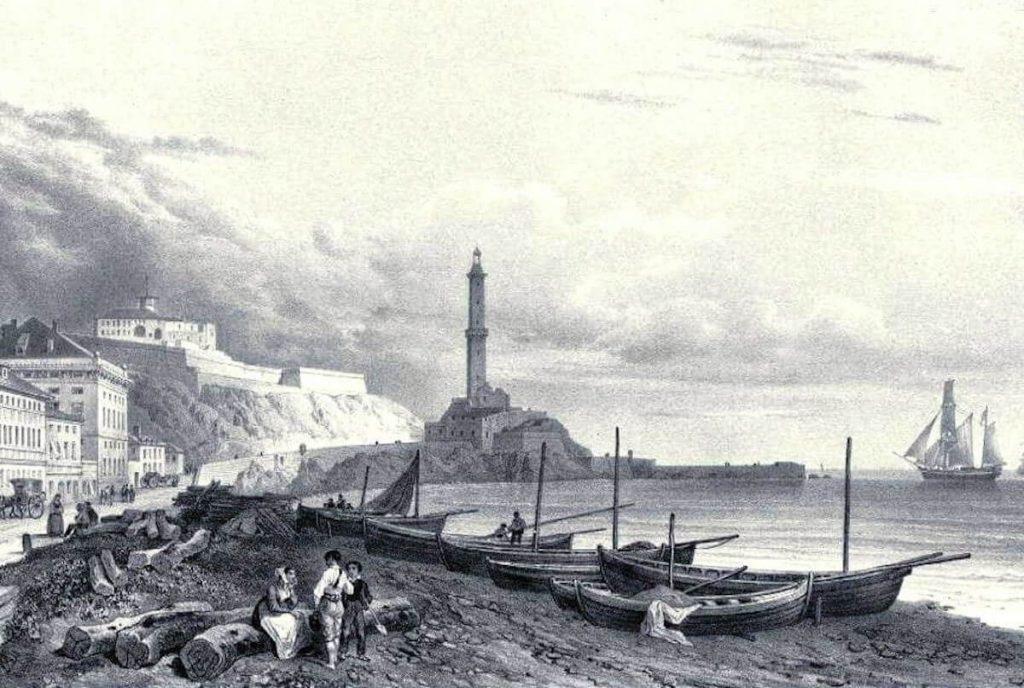 Lanterna di Genova - Veduta del porto di Genova, litografia di Isador Laurent Deroy