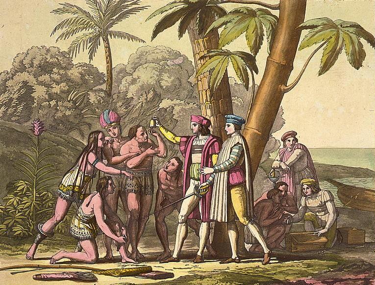 cristoforo colombo con gli indigeni