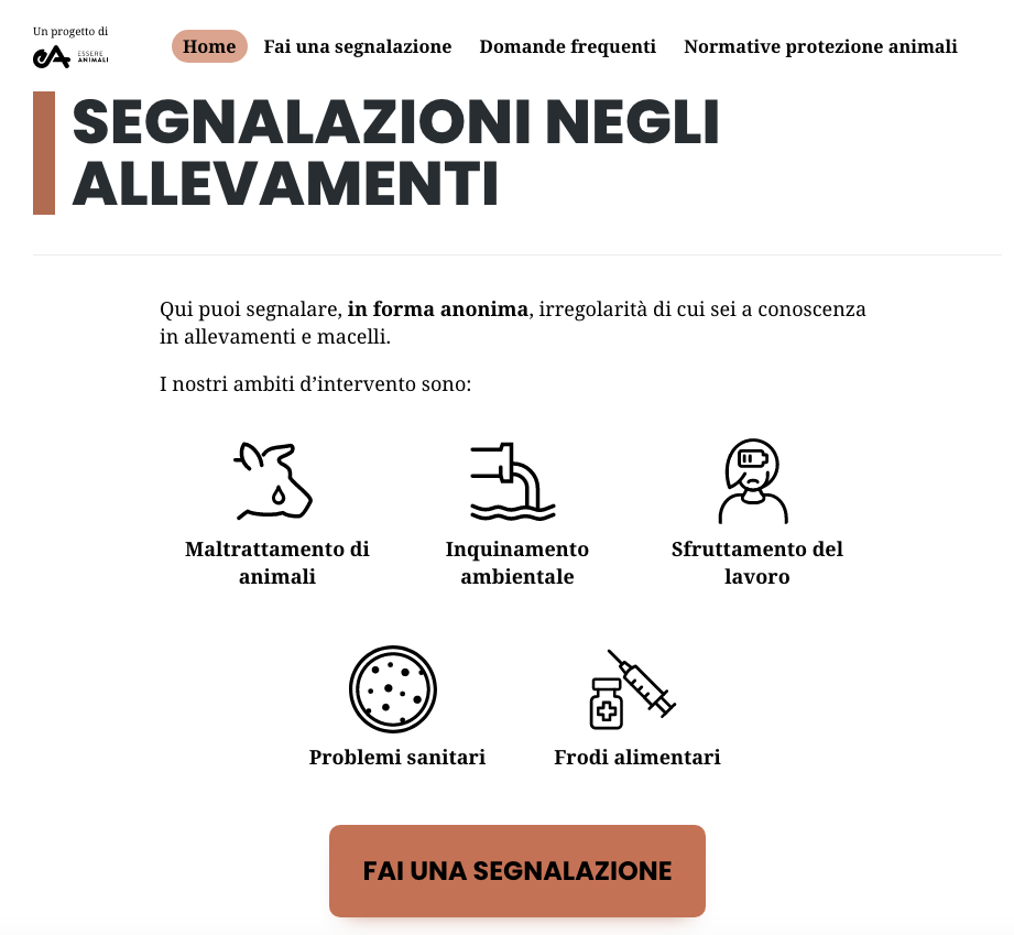 primo sito web italiano contro maltrattamenti animali - L'homepage di https://segnalazioni.essereanimali.org/.