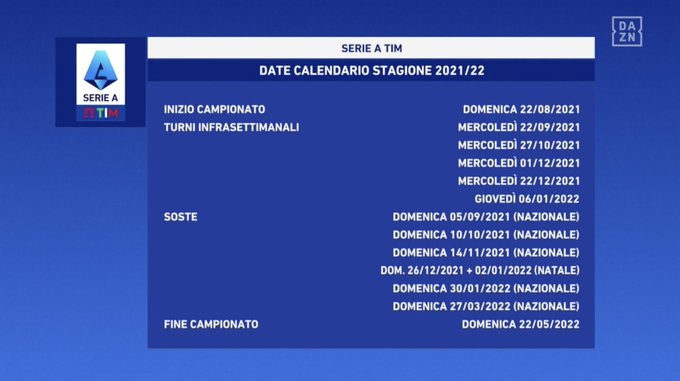 Serie A - Le date