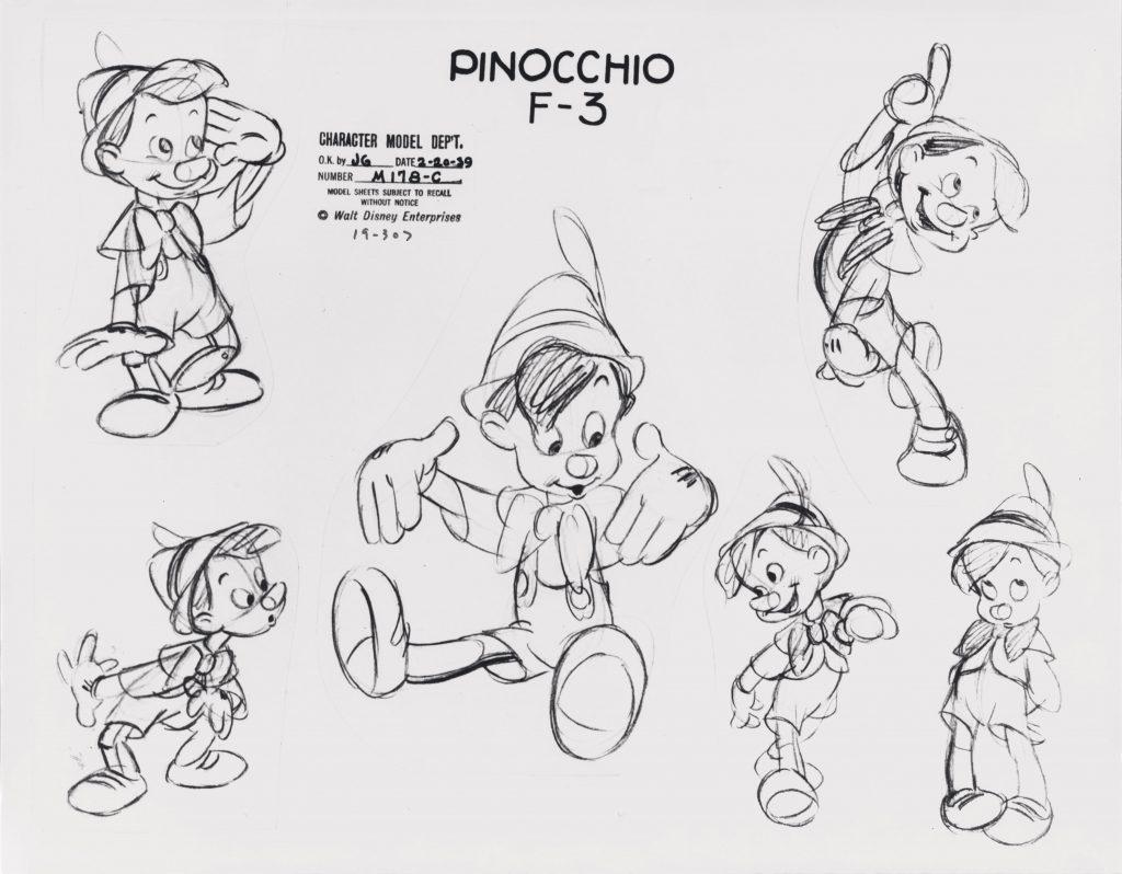 Mostra Disney - Pinocchio, 1940 Disney Studio Artist Model sheet print on paper