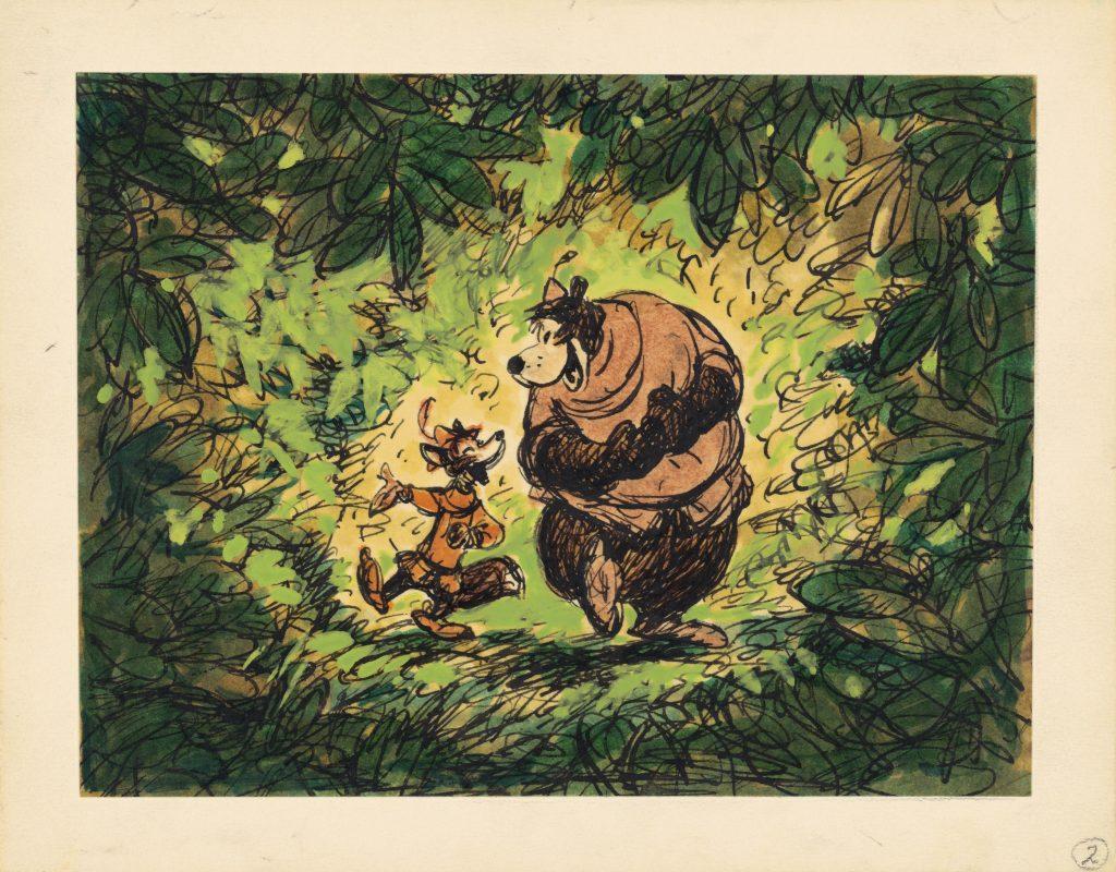 Mostra Disney - Robin Hood, 1973 Disney Studio Artist Concept art gouache, marker, and ink on paper