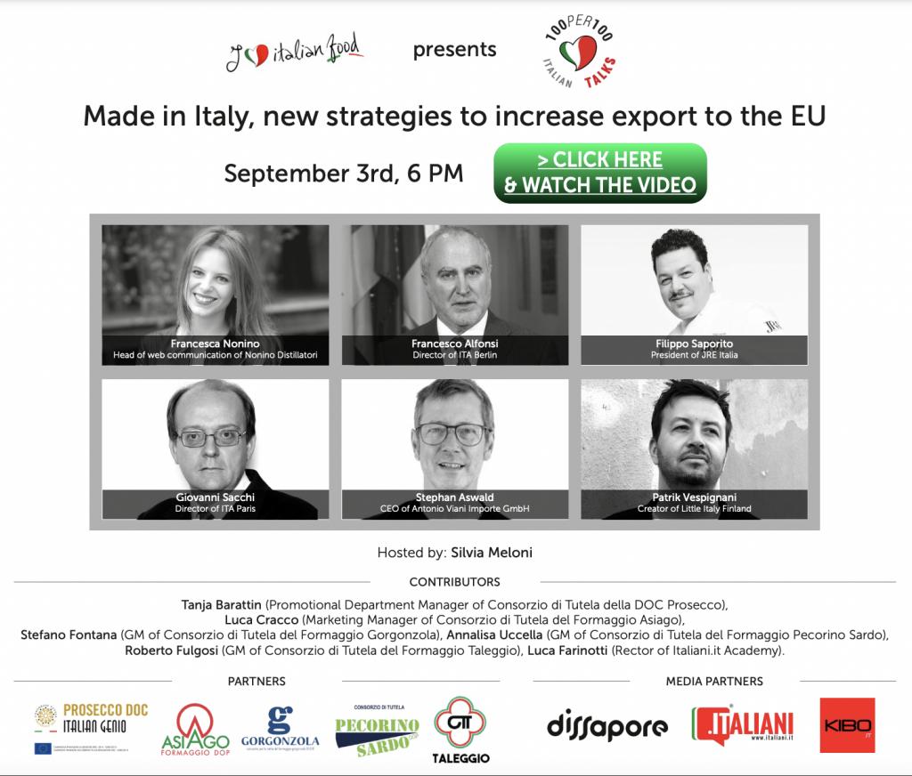 100per100 Italian Talks - locandina ilif 3 settembre 2021