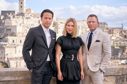 No Time to Die - Daniel Craig con Léa Seydouxil e il regista Cary Fukunaga a Matera