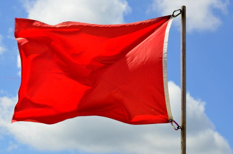 Banderas en la playa - Bandera Roja