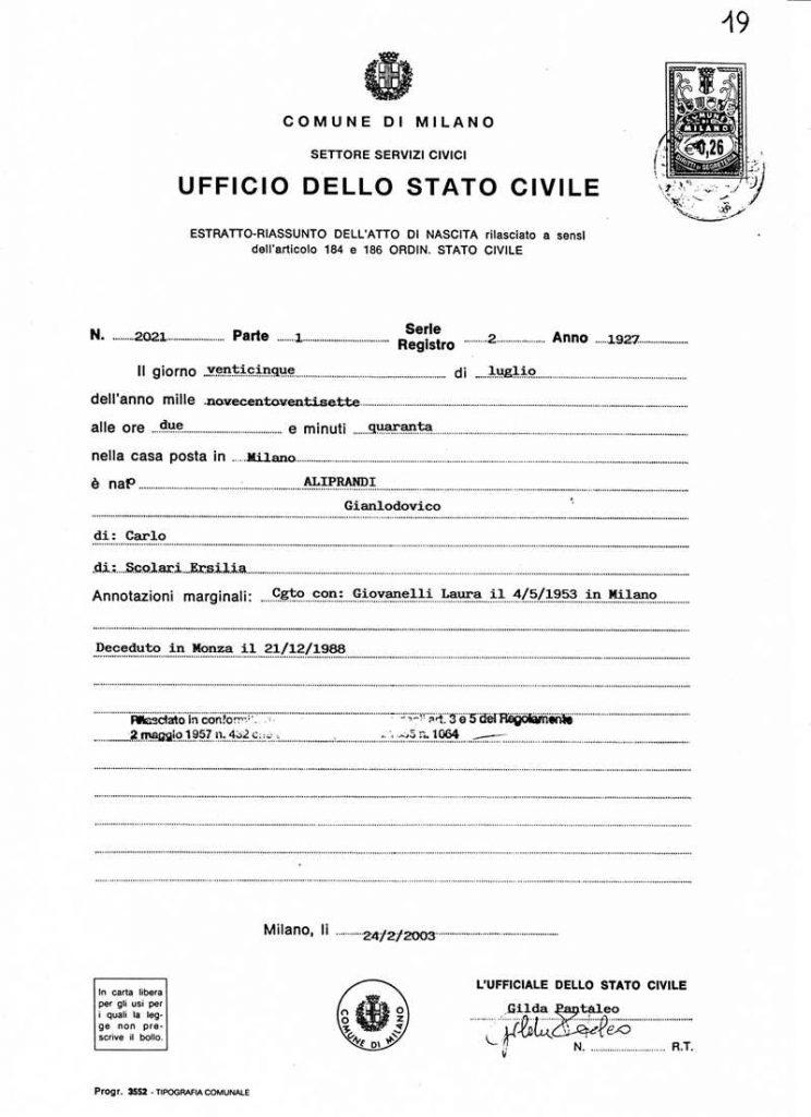 Ciudadanía - Atto Di Nascita.