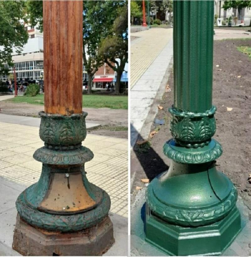 Plaza - Restauración Farolas Antes Y Después.