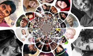 Imagen Concentrica De Rostros Humanos - mapa genetico