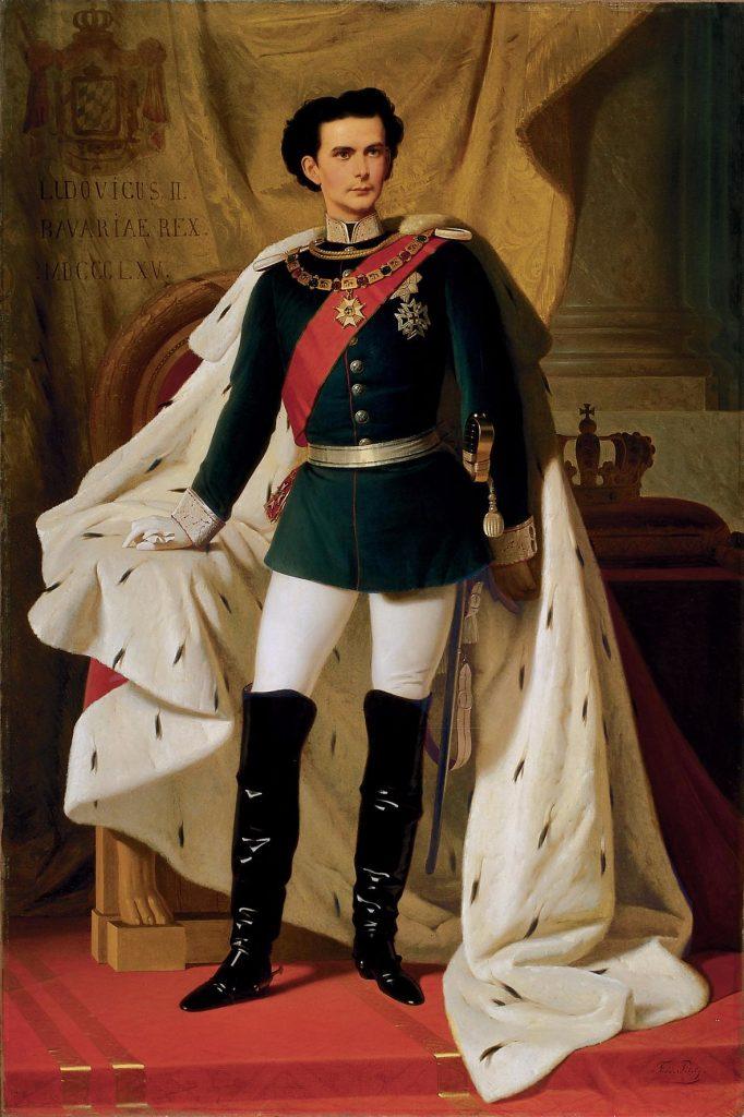 Ludwig Ii. Von Bayern In Generalsuniform Mit Dem Krönungsmantel