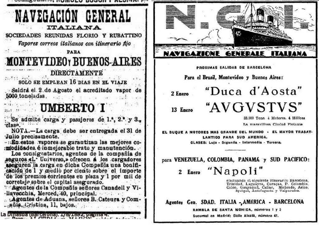 Inmigración italiana en Montevideo - Afiches Publicitario Navegacion A America Del Sur