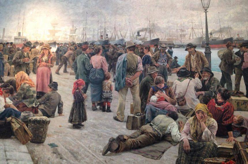 Inmigración - Pintura Inmigrantes En El Puerto De Montevideo