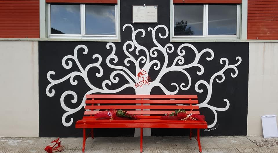 Giordana Di Stefano e la Panchina Rossa, dietro un albero bianco su sfondo nero e una mano rossa che dice basta