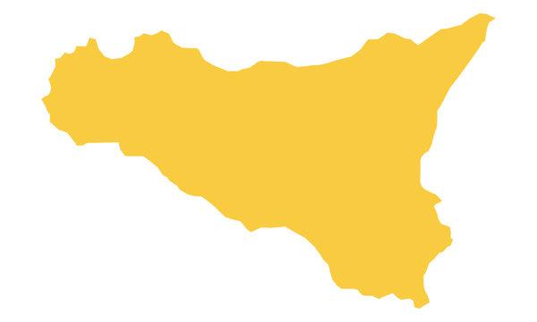 Sicilia in zona giallo su sfondo bianco