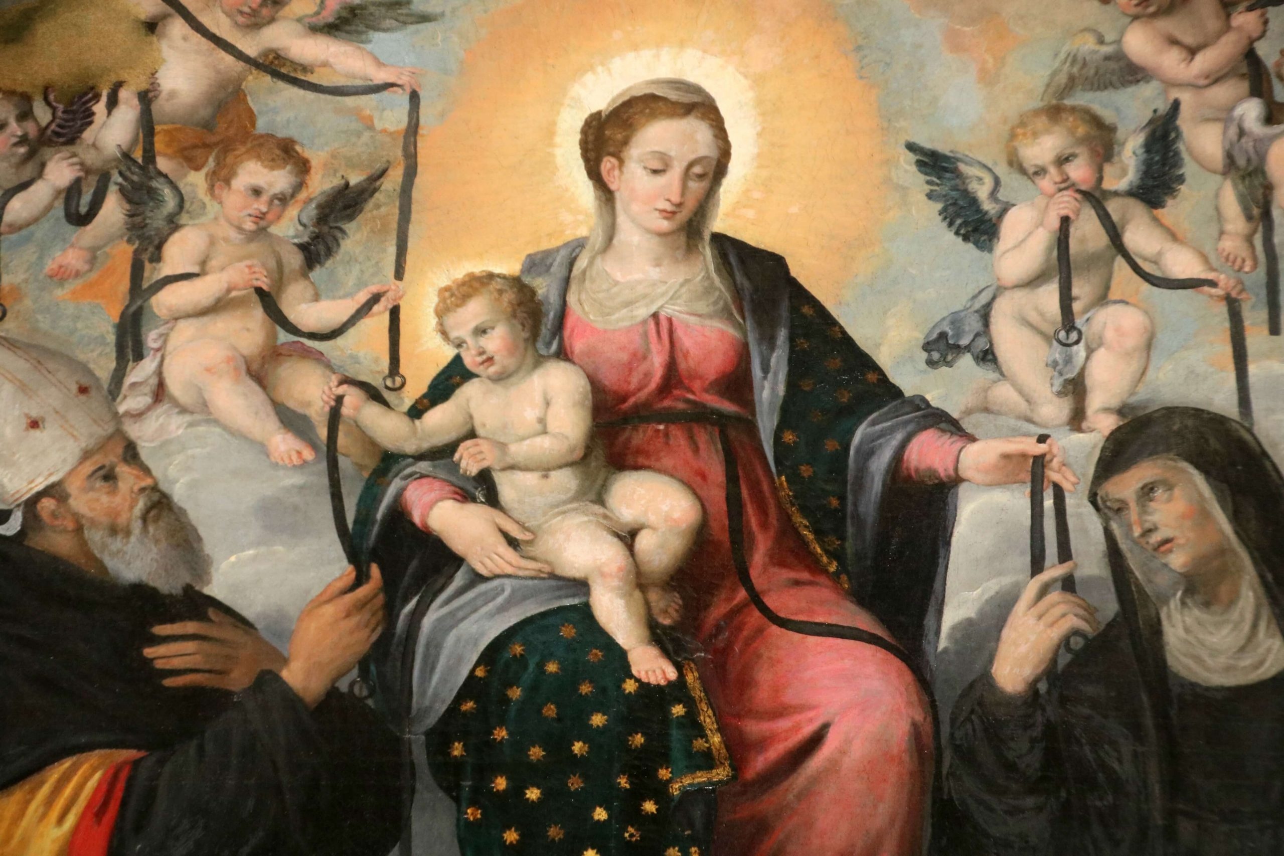 Madonna Della Cintura dipinta da Giovanni Francesco Guerrieri con S. Agostino e S. Monica