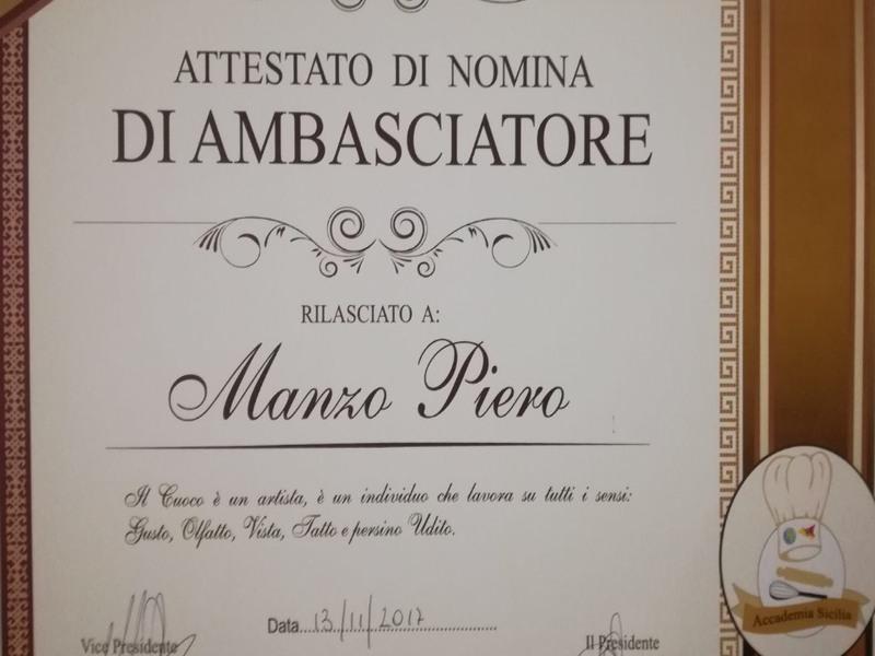 Attestato di nomina di ambasciatore a Piero Manzo