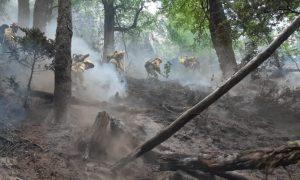 el fuego - Bomberos combatiendo el incendio