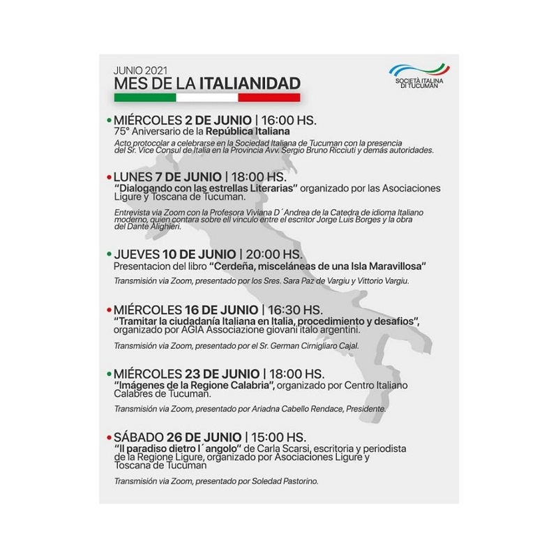 Mes de la italianidad - Cronograma Mes