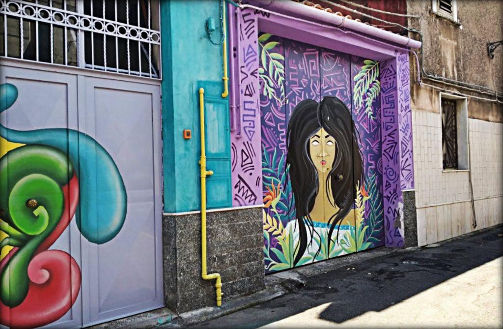 Vanedda street art: il disegno di una figura femminile
