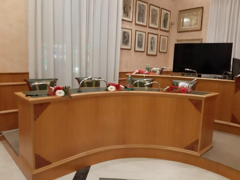 Gerbere rosse: Aula consiliare- Foto: concessione Presidente del Consiglio Comunale